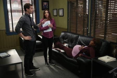 "BROOKLYN NINE-NINE: L-R: Andy Samberg, Chelsea Peretti and guest star Merrin Dungey in the ""Ava"" ©2015 Fox Broadcasting Co. Credit: John P. Fleenor/FOX"