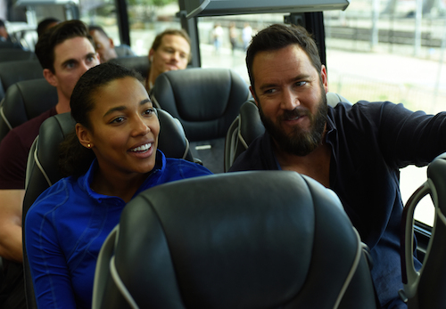 "PITCH: Kylie Bunbury and Mark-Paul Gosselaar in the all-new ""The Interim"" episode of PITCH airing Thursday, Sept. 29 (8:59-10:00 PM ET/PT) on FOX. Cr: Ray Mickshaw / FOX. © 2016 FOX Broadcasting Co."