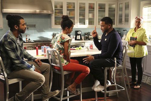 "BLACK-ISH - ""God"" - When Dre discovers that Zoey is questioning her belief in God, he undergoes a crisis of faith and leans on family members and coworkers for their input. Meanwhile, Bow's brother Johan comes to stay with The Johnsons after living abroad and becomes an instant thorn in Dre's side, on ""black-ish,"" WEDNESDAY, SEPTEMBER 28 (9:31-10:00 p.m. EDT), on the ABC Television Network."" (ABC/Mitch Haaseth) DAVEED DIGGS, YARA SHAHIDI, ANTHONY ANDERSON, JENIFER LEWIS"