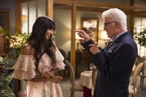 "THE GOOD PLACE -- ""Jason Mendoza"" Episode 104 -- Pictured: (l-r) Jameela Jamil as Tehani, Ted Danson as Michael -- (Photo by: Justin Lubin/NBC)"