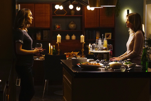 "GREY'S ANATOMY - ""Catastrophe and the Cure"" - Meredith considers her loyalties, as Alex deals with the repercussions of his actions. Newlyweds Amelia and Owen host a dinner party with unlikely guests, and Jackson proposes an arrangement to help April through her recovery, on ""Grey's Anatomy,"" THURSDAY, SEPTEMBER 29 (8:00-9:00 p.m. EDT), on the ABC Television Network. (ABC/Richard Cartwright) CAMILLA LUDDINGTON, ELLEN POMPEO"