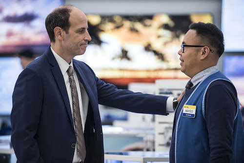"SUPERSTORE -- ""Back to Work"" Episode 203 -- Pictured: (l-r) Michael Bunin as Jeff, Nico Santos as Mateo -- (Photo by: Brandon Hickman/NBC)"